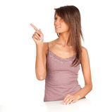 Pointing young woman Stock Photos