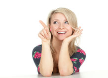 Pointing young woman Royalty Free Stock Photo