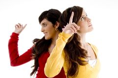 Pointing young women Stock Image
