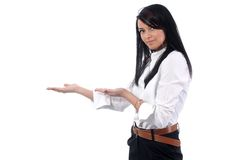 Pointing at your product Stock Photo