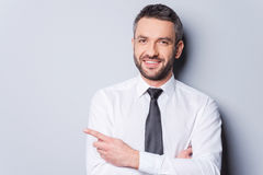 Pointing your product. Royalty Free Stock Photo