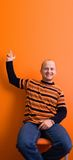 Pointing2. Man pointing upwards - copyscpace stock photos