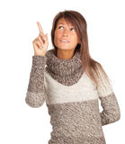 Pointingyoung woman in sweater Royalty Free Stock Photos