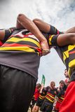 POINTNOIRE/CONGO - 18MAY2013 - Team of amateur friends playing rugby. Africa royalty free stock image