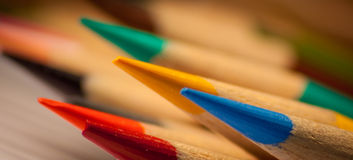 Points. Close up of several sharpened colored pencil points Royalty Free Stock Image