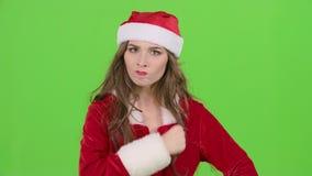Points auxiliaires de Santa son doigt un peu plus tranquillement Écran vert Fin vers le haut Mouvement lent clips vidéos