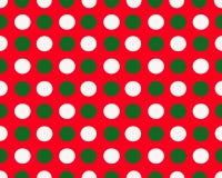 Points blancs de fond rouge de Noël et verts blancs Images libres de droits