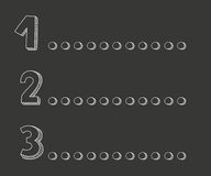 1, 2, 3 points on chalkboard vector illustration Royalty Free Stock Photos