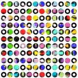 Points colorés contrastés sur le blanc Images stock