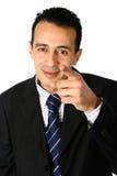 Points d'homme d'affaires vers le visualisateur photo stock