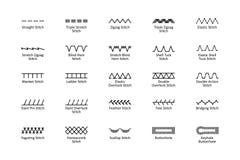 Points de couture avec des titres Images libres de droits