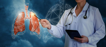 Points de docteur aux poumons images stock