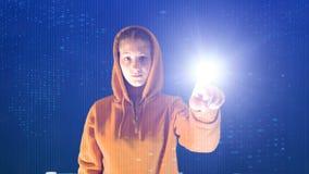 Points de fille avec sa main dans un environnement numérique de cyberespace, idéal à capuchon pour des sujets tels que l'écologie banque de vidéos
