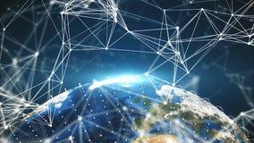 points de la terre et de connexion de la planète 3d, différents continents, contexte de rendu généré par ordinateur images stock