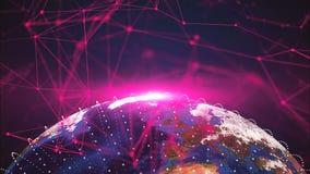 points de la terre et de connexion de la planète 3d, différents continents, contexte de rendu généré par ordinateur illustration stock