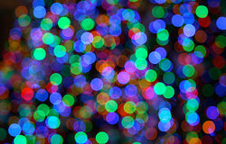 Points de lumières colorés de Noël - configuration de bokeh images libres de droits