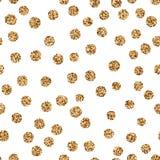 Points de polka d'or brillants de scintillement sur le fond blanc Photographie stock libre de droits