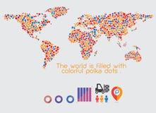 Points de polka multicolores de carte du monde Image stock
