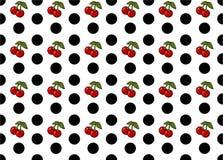Points de polka sans couture avec l'art de vecteur de modèle de cerises image libre de droits
