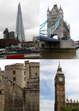 Points de repère à Londres, carte postale Photo stock