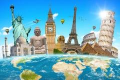 Points de repère célèbres de la terre environnante de planète du monde Photo libre de droits
