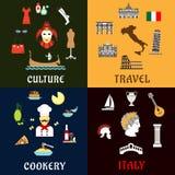 Points de repère de l'Italie, icônes plates de cuisine d'american national standard de culture Photos libres de droits