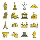 Points de repère de la couleur 2 d'icônes du monde à main levée Image stock