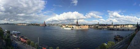Points de repère de paysage de ville de Stockholm de panorama Photos libres de droits