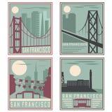 Points de repère de San Francisco d'affiches de vintage de style ancien rétros illustration de vecteur