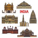 Points de repère de voyage d'icône indienne d'architecture Photos stock