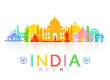 Points de repère de voyage d'Inde illustration libre de droits