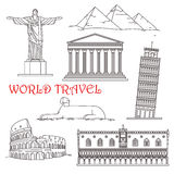 Points de repère de voyage de l'Italie, Brésil, Grèce, Afrique Image stock