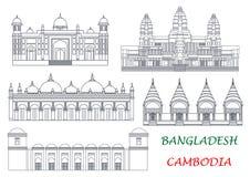 Points de repère de voyage des icônes du Cambodge et du Bangladesh Photographie stock libre de droits