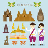Points de repère du Cambodge et éléments de conception d'objets Illustration Stock