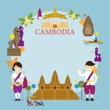 Points de repère du Cambodge, les gens dans l'habillement traditionnel, cadre Photos libres de droits