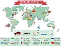 Points de repère du monde d'Infographic sur la carte illustration stock