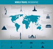 Points de repère du monde d'Infographic sur la carte Vecteur Photos stock