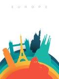 Points de repère du monde de coupe de papier de l'Europe 3d de voyage illustration de vecteur