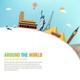 Points de repère du monde Fond de voyage et de tourisme Vecteur plat Images libres de droits
