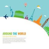 Points de repère du monde Fond de voyage et de tourisme Vecteur plat Image libre de droits