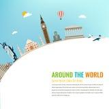 Points de repère du monde Fond de voyage et de tourisme Vecteur plat Photos libres de droits