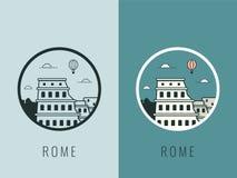 Points de repère du monde l'Italie Fond de voyage et de tourisme Ligne icônes Vecteur illustration de vecteur