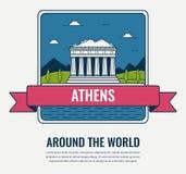 Points de repère du monde La Grèce Fond de voyage et de tourisme Style de schéma Vecteur Photos libres de droits