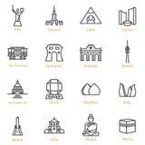 Points de repère du monde - ligne icône de vecteur réglée - partie III Images stock