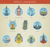 Points de repère du monde Voyage et tourisme Icônes de points de repère réglées Vecteur Photo stock