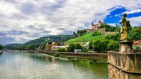 Points de repère et belles villes de l'Allemagne - Wurtzbourg Images stock