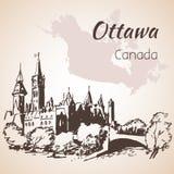 Points de repère et carte d'Ottawa Photo libre de droits