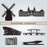 Points de repère et monuments d'Amsterdam illustration de vecteur