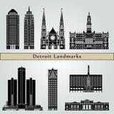 Points de repère et monuments de Detroit Photographie stock libre de droits