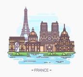 Points de repère français Tour Eiffel et Notre Dame illustration de vecteur